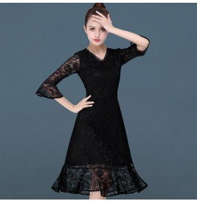 Women's latin dance dresses black lace long sleeves for girls female salsa chacha rumba dance skirts