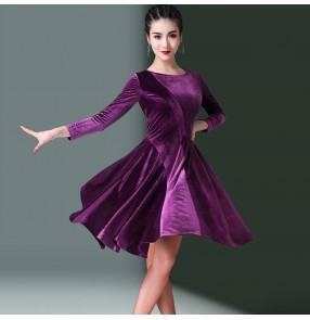 velvet Women's latin dance dresses for girls stage performance competition salsa chacha samba dance skirt dress