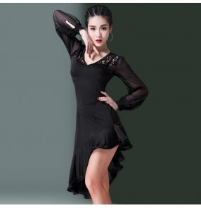 Lace latin dance dress for women girls stage performance modern dance samba chacha salsa rumba dance skirt dress