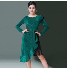 Dark green latin dance dress for women girls stage competition performance salsa chacha samba rumba dance skirt costumes dress