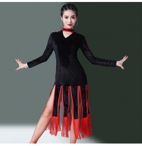 Women's latin dance dresses black with red fringes velvet long sleeves competition rumba chacha salsa dance dress dance wear skirt