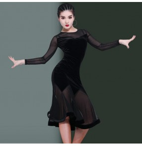 Women girl's stage performance latin dance dresses for female lady black velvet long sleeves samba chacha rumba salsa dance dress skirt