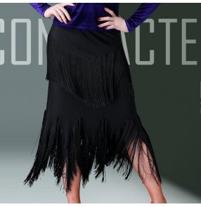 Tassels long latin dance skirts for women girls competition stage performance salsa rumba chacha dance skirts