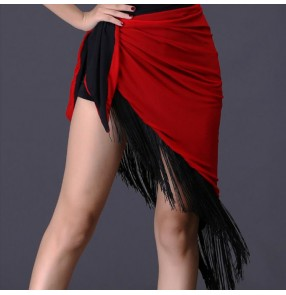 Women's latin dance triangle hip scarf dance skirt for female girls red color one size