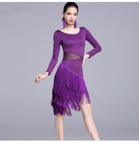 Women's latin dance dresses tassels competition stage performance chacha rumba samba dance skirt dress