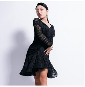 Women's latin dance dresses girls high school stage performance black colored lace long sleeves latin rumba samba chacha dance skirt