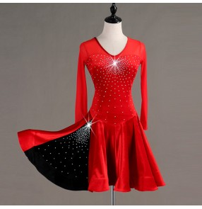 Children adult latin dance dresses velvet black with red rhinestones competition stage performance rumba salasa dance dresses skirt