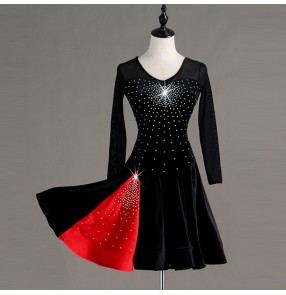 Women's girls black colored children latin dance dresses stage performance salsa chacha rumba dance dress skirts