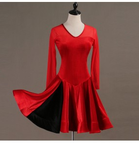 Adult children latin dance dresses long sleeves velvet girls black red velvet rumba chacha samba salsa competition stage performance dresses