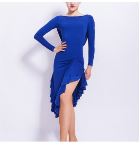 Women's latin dance dresses royal blue black colored for girls high school competition rumba salsa chacha latin dance dress skirt