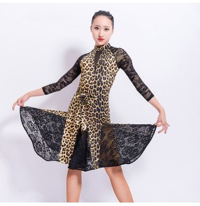 Women's leopard latin dance dresses lace long sleeves stage performance girls rumba samba salsa chacha dance dress skirt