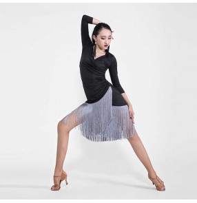 Women's latin dance dresses black with grey fringes fashion stage performance salsa chacha dance dress skirt for girls