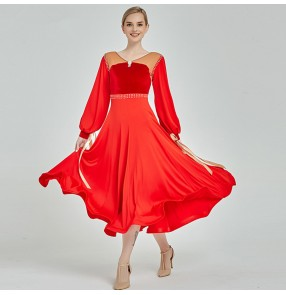 Women's ballroom dance dresses red black flamenco girls stage performance competition waltz tango dance long dresses