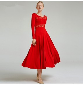 Women's ballroom dance dress black red color for girls stage competition waltz tango dance dress skirts