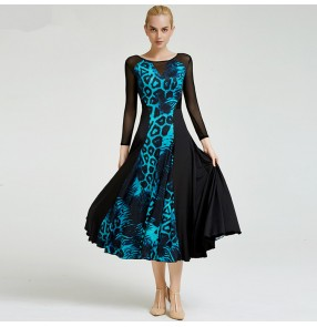 Women's ballroom dress for female girls turquoise brown leopard competition stage performance waltz tango dance long dresses