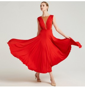 Women's ballroom dance dresses dark green red waltz tango dance dress for female lady girls competition professional cosplay dress