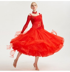 Women competition stage performance ballroom dance dress for female lady professional waltz tango dance skirt costumes dress