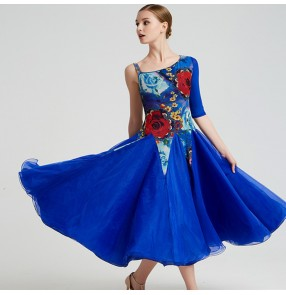 Flamenco Women's ballroom dance dresses royal blue green rose floral stage performance professional competition waltz tango dance dresses