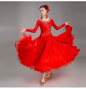 Red ballroom competition dance dress for women female girls stage performance professional ballroom waltz tango dance dress