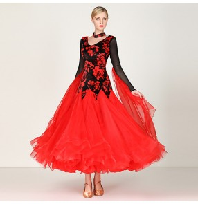 Women's ballroom dance dress  red white colored flamenco velvet floral rose waltz tango dance dresses for girls female lady