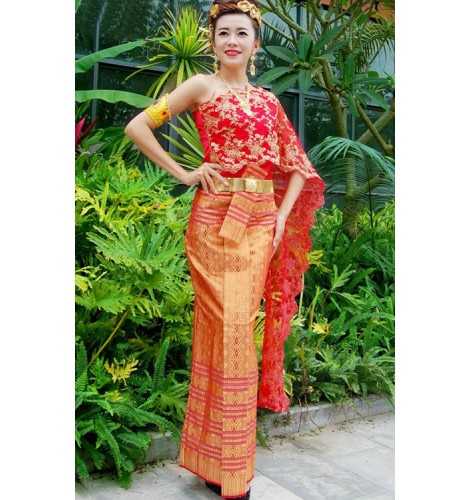 Chinese traditional Yi minority dance costumes Thailand oriental  photography drama queen brides cosplay dresses