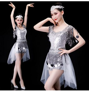 Silver Modern dance jazz dance costumes for girls women's singers gogo dancers group cheer leaders stage performance model show competition outfits