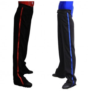 Men's boys latin ballroom dance pants side with royal blue red ribbon flamenco stage performance competition professional samba chacha dance trousers