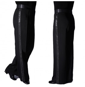 Men's latin dance pants boy's side with ribbon with diamond professional competition straight ballroom salsa rumba chacha dance trousers pants