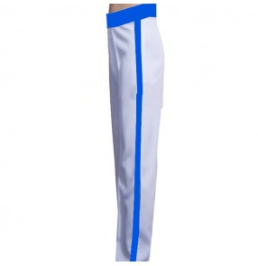 Men's children boy's latin dance pants competition white with royal blue ribbon stage performance salsa rumba chacha dance trousers