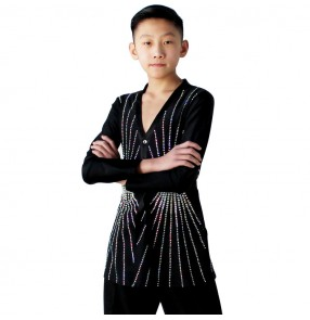 Boy's latin dance shirts children kids black color diamond ballroom modern dance competition professional stage performance salsa rumba chacha dance tops