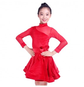 Children latin dance dresses stage performance professional competition samba chacha salsa dance skirt leotard dresses
