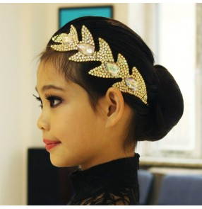 Girls children modern dance diamond headdress stage performance  latin ballroom dance head pieces