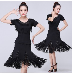 Women's latin dance costumes girls stage performance square dance latin salsa rumba samba chacha dance dresses tops and skirts