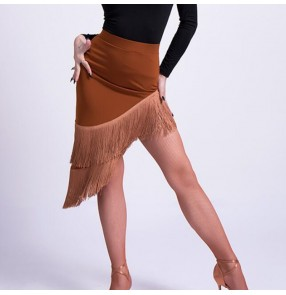 Women's latin dance skirts tassels brown black fringes girls competition stage performance rumba salsa chacha dance skirts