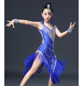 Girls latin dance dresses mint blue black silver competition stage performance diamond professional salsa chacha samba chacha dance skirt dress