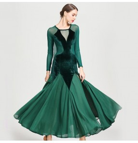 Women's ballroom dance dresses dark green black red female ballroom flamenco waltz tango long length big skirt dresses
