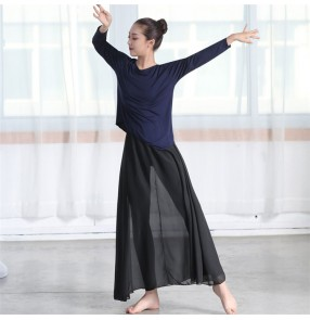Women's modern dance tops classical ballet yoga fitness modal material sports practice stage performance casual t shirt blouses
