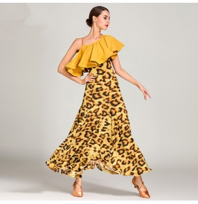 Women's ballroom dance dresses flamenco stage performance competition yellow red leopard printed waltz tango dancing dresses skirts