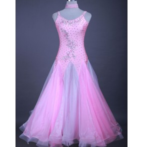 Custom size pink ballroom dance dresses for girls women's waltz tango flamenco competition stage performance big skirted dresses
