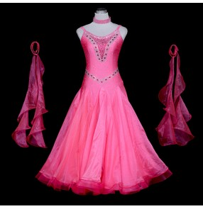 Custom size ballroom dresses for women girls pink colored female professional diamond waltz tango flamenco dancing long dresses