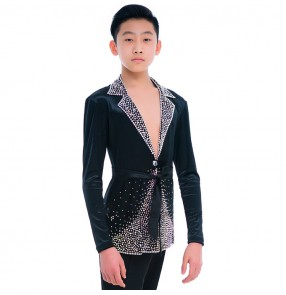 Boy's competition ballroom latin dance diamond shirts black color professional stage performance velvet samba salsa latin chacha rumba dance tops lapel collar blazers