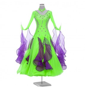 Custom size flamenco ballroom waltz competition dance dresses women girls stage performance modern dance big skirted diamond handmade professional dresses