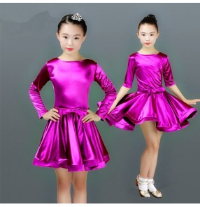 Children latin dance dresses stretchable satin long sleeves girls modern dance chacha salsa rumba stage performance samba dance skirts