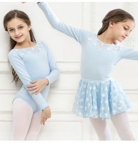 Girls pink modern dance ballet dance dresses blue stage performance competition gymnastics tutu skirt and leotard top dress