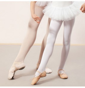 Children modern dance ballet pantyhose latin stage performance practice leggings girls white pink pants socks
