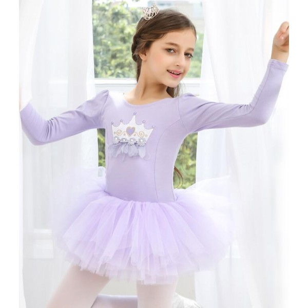 2fd97aae2c5a Girls ballet dance princess dresses for children pink purple blue ...