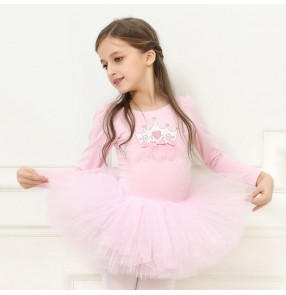 Girls ballet dance princess dresses for children pink purple blue modern dance stage performance gymnastics tutu skirt dance costumes