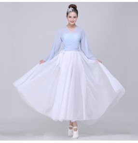 Women's modern dance dresses white with blue ballet classical dance stage performance cosplay dresses