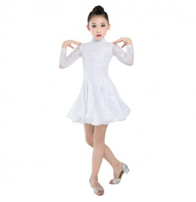 Children latin dance dresses costumes white lace colored modern dance stage performance dance studio school competition dresses