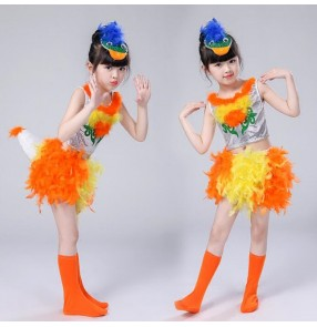 Girls children jazz modern dance costumes cartoon duck cosplay stage performance outfits dresses